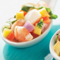"""Looking for an unusual appetizer to serve this holiday season? Scallop and Shrimp Ceviche is a quicker version. Rather than letting the seafood """"cook"""" in the lemon juice, the scallops are quickly sautéed and the shrimp is precooked. No sweat."""