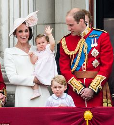 Princess Charlotte's first royal wave - pictured with her parents, The Duke and Duchess of Cambridge, and brother, Prince George. - Saturday 11 June 2016.