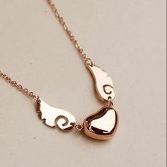 titanium steel necklaces pendants women 2014 new fashion jewelry Angel wings love heart rose gold do not change color Fancy Jewellery, Stylish Jewelry, Cute Jewelry, Heart Jewelry, Handmade Jewellery, Fashion Necklace, Fashion Jewelry, Women Jewelry, Fashion Rings