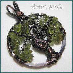 SherrysJewels - Tree of Life - Peridot - August - Hook Bail Copper Pendant Necklace - $40 -- #ibhandmade