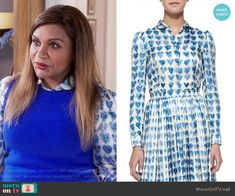 Mindy's blue heart print shirt  on The Mindy Project.  Outfit Details: https://wornontv.net/61003/ #TheMindyProject