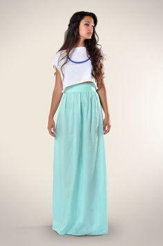 Aqua Semi-Sheer Maxi Skirt by Le Mouton Bleu!   #maxiskirt #aqua