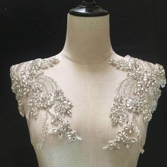 New Deluxe rhinestone appliques, shoulders sash lace appliques, rhinestone bodice applique, bridal headpieces sash accessories Embroidered Lace, Lace Applique, 3d Design, Rhinestone Appliques, Gold Rhinestone, Rhinestone Wedding, Rhinestones, Bridal Sash, Bridal Headpieces