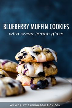 Blueberry muffin cookies feature super soft and buttery centers and an abundance of blueberries, all topped with a sweet lemon glaze. Homemade recipe on sallysbakingaddiction.com