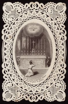 Vintage French Lace Holy Card