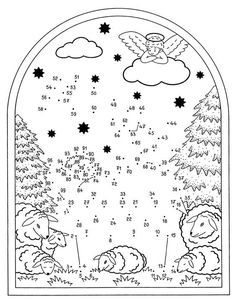 Christmas dot to dot: * Weihnachtskrippe. Christmas Worksheets, Christmas Activities, Christmas Crafts For Kids, Christmas Colors, Christmas Projects, Christmas Bible, Christmas Nativity, Christmas Art, Christmas Scenes
