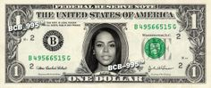 AALIYAH on REAL Dollar Bill - $1 Celebrity Collectible Custom Cash $ Money