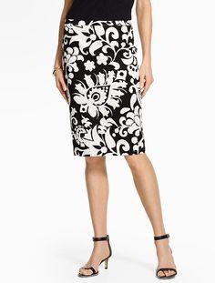 Bold Flower Paisley Pencil Skirt - Talbots - May 2016