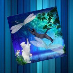 Carte carrée avec son enveloppe : étrange ballet nocturne, envolée de libellules ..et de chats Les Themes, Nocturne, Creations, Ballet, Fish, Painting, Animals, Dragon Flies, Peonies