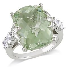 Miadora Sterling Silver Green Amethyst, White Sapphire and Diamond Ring (Size 9), Women's