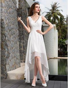 Lanting Bride® A-line Petite / Plus Sizes Wedding Dress - Chic & Modern / Reception Simply Sublime Asymmetrical V-neck Georgette 783865 2017 – $79.99
