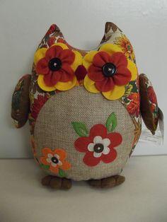 NWT Weighted Fabric Owl Fall Harvest Print Felt Button Eyes Doorstop.........26Q