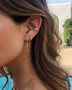 Take it up a notch 💎✨ New star shower chain earring for single piercing, go. - Take it up a notch 💎✨ New star shower chain earring for single piercing, go - Ear Peircings, Cute Ear Piercings, Ear Piercings Conch, Conch Piercing Jewelry, Conch Earring, Inner Conch Piercing, Multiple Ear Piercings, Triple Ear Piercing, Unique Piercings