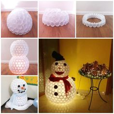 DIY Snowman From Plastic Cups