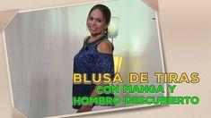 DIY Blusa de tiras con manga y hombro descubierto -Striped blouse with s...