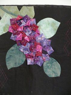 Fabric folded Hydrangeas - work in progress