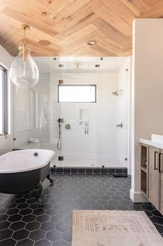 Beautiful master bathroom decor tips. Modern Farmhouse, Rustic Modern, Classic, light and airy master bathroom design suggestions. Bathroom makeover some ideas and master bathroom renovation some ideas. Bad Inspiration, Bathroom Inspiration, Wood Plank Tile, Wood Flooring, Subway Tile Showers, White Subway Tile Shower, Tiled Showers, Subway Tiles, Home Luxury
