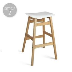 Set of 2 Rubberwood Bar Stools | White/Wood | 50x75cm | Trendy Chairs & Tables @ The Home
