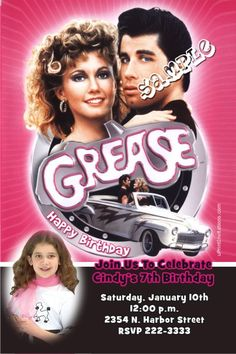 Grease Birthday Invitations -  Get these invitations RIGHT NOW. Design yourself online, download and print IMMEDIATELY! Or choose my printing services. No software download is required. Free to try!