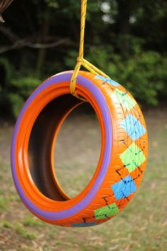 Upcycling old rubber tires is a great way to keep them out of landfills. And they're easy to paint with bright colors and fun patterns.