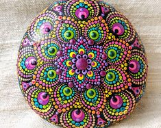 Mandala stone dotted healing rock handpainted ~ meditation paperweight decoration handpainted natural spiritual hippy boho gift
