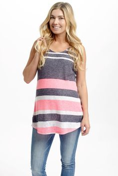 Perfect for an all-day wear this season, this alternating striped knit tank top has the versatility for a casual day out or the option of dressing up for a night out. Pink-Black-Striped-Knit-Maternity-Tank-Top