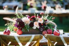 pomegranate centerpieces in this beautiful outdoor wedding has the perfect farm flair with Archive Rentals chairs. LOVE this - especially with the pomegranates Flower Box Centerpiece, Floral Centerpieces, Flower Decorations, Wedding Centerpieces, Flower Arrangements, Wedding Decorations, Floral Arrangement, Table Decorations, Floral Wedding