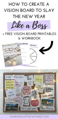 Read to find out how to create a vision board that actually works for you. I designed a free workbook to guide you through the process and help you utilize your vision board to its fullest potential. and there's some pretty free printables to use on your vision board too! | vision board ideas, vision board DIY, vision board printables, vision board examples, new years resolution, vision board inspiration, goal setting, personal growth, self care, new years goals, lifestyle design, creativity