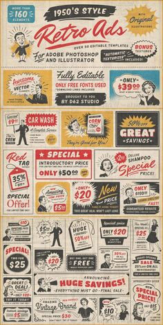 retro style vintage ad templates for Adobe Illustrator and Photoshop created by DISTRICT 62 STUDIO. Retro Stil, Retro Ads, Vintage Ads, Vintage Paper, Retro Font, Retro Advertising, Retro Posters, Vintage Fonts, Vintage Photos