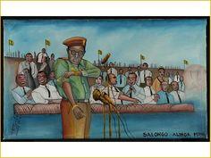 """Tshibumba Kanda Matulu, Mobutu stroopt zijn mouwen op tijdens een stadionbijeenkomst om het goede voorbeeld te geven voor de slogan """"salongo"""" (""""van werken houden""""). Collecties online - Tropenmuseum"""