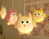 "Baby crib mobile, owl mobile ""Cute owl - Yellow"" -- Ready To Ship / Free Music Box"