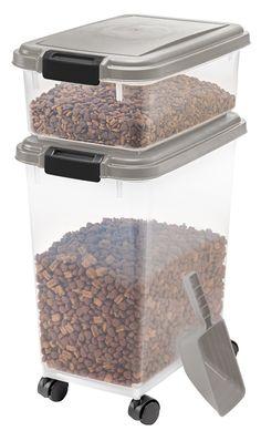 Amazon.com : IRIS Airtight Pet Food Container Combo Kit, Chrome/Black : Pet Food Storage Products : Pet Supplies