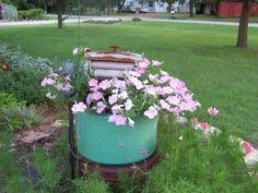 Vintage washing machine garden planter