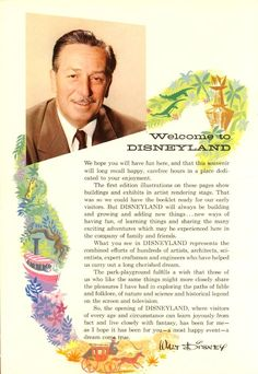"""disneylandguru: """"From a 1955 Disneyland guidebook released before the gates even opened. Incredible artwork and color - and beautiful words from the man himself. """""""