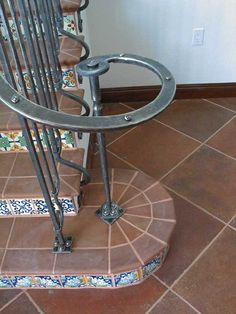 Custom Made Hand-Forged Spanish Revival Stair Railing, Side-Mounted Clover Motif. Wrought Iron Stair Railing, Stair Railing Design, Staircase Railings, Stairways, Railing Ideas, Iron Staircase, Iron Railings, Spanish Revival, Spanish Style Homes