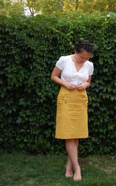 Free Burda Skirt Pattern - Kasia  Eunny Jang in her mustard Kasia.  When I grow up I want to be her, but since I probably won't ever grow up I would just like to work up the motivation to make this skirt.