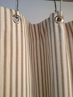 Ticking Stripe Shower Curtain IN STOCK Black, gray, navy, brown stripe available on Etsy, $58.00