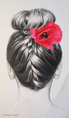 Updo - graphite/gouache/pastel by ©Kristy Asaro http://imaginekristy.blogspot.com/2012/10/graphite-on-paper.html