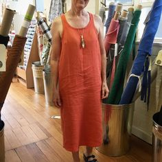 Lovely customer Felicity made this beautiful Bantam Dress from the Merchant & Mills Workbook using some of our washed linen (orange colourway now sold out). #merchantandmills #bantamdress #merchantandmillsworkbook We're open today 12-4!