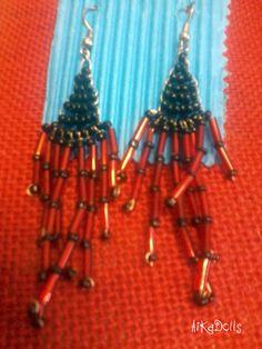 handmade earrings comanche pendientes tecnica comanche