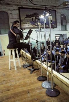 Johnny Cash photographed during a special live performance inside Folsom Prison, 1968