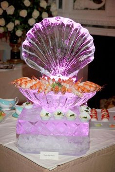 Scallop Seashell Ice Sculpture for my snack table. (for guests who don't want to wait for servers to come around or dont like fruit)