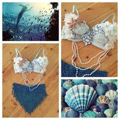 I have already bought a mermaid bra from whythecagebirdsingz, and they are amazing. she takes the time and her pieces are just absolutely perfect. go to her for your rave girl needs. written by Mermaid Top, Mermaid Tails, The Little Mermaid, Ariel Costumes, Mermaid Parade, Halloween Karneval, Rave Festival, Maquillage Halloween, Halloween Disfraces