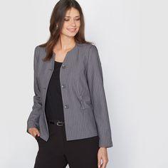 La Redoute Womens Stretch Twill Striped Cropped Jacket