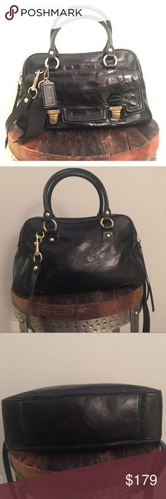 """Coach EUC Poppy Black Leather Pushlock Satchel Love, love, love this bag! Excellent condition and very versatile: comes with detachable shoulder strap and can be worn as a crossbody bag or carried as a satchel. All black leather with ribbon embellishment featuring gold hardware and hot pink sateen interior. Includes outer pushlock pocket, zip closure, inner zip pocket, two open pouches & dust bag. Measures @ approx: 14"""" x 4"""" x 9""""; 6"""" hand straps; 16"""" shoulder strap. Serial no. D1176-17888…"""