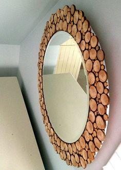 basteln mit holz als coole bastelidee für designer spiegel mit holzrahmen