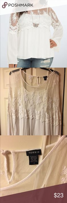 TORRID PERFECT GO TO! Beautiful white blouse with some lace and popular bell sleeves, under cami is included, Never worn only washed once properly and hung dried, color is true to the stock photo, my lighting wasn't very good torrid Tops