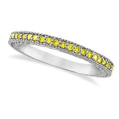 Allurez Yellow Diamond Wedding Ring Band 14K White Gold (0.31ct) ($440) ❤ liked on Polyvore featuring jewelry, rings, wedding band rings, 14k wedding ring, yellow diamond wedding ring, canary diamond ring and yellow diamond rings
