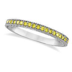 Allurez Yellow Diamond Wedding Ring Band 14K White Gold (0.31ct) ($440) ❤ liked on Polyvore featuring jewelry, rings, wedding band rings, 14k wedding ring, yellow diamond wedding ring, canary diamond ring and yellow diamond rings