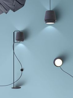 """Note Design Studio incorporates Kvadrat fabric into a series of lighting for Zero. The Elements collection draws on the quality of """"soft and gentle"""" light in Nordic mountains and includes a floor, wall, table, and pendant version. Note Design Studio, Notes Design, Modern Lighting, Lighting Design, Blitz Design, Element Lighting, Ceiling Light Design, Lighting Solutions, Wall Lights"""